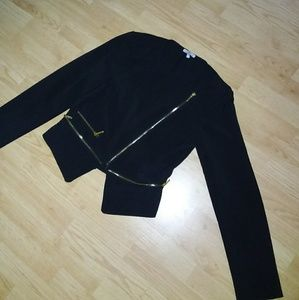 Black blazer jacket with gold zippers
